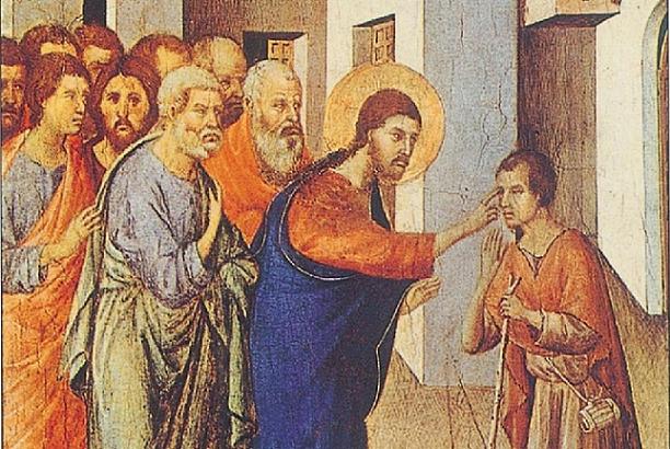 Duccio di Buoninsegna, La guarigione del cieco (particolare)