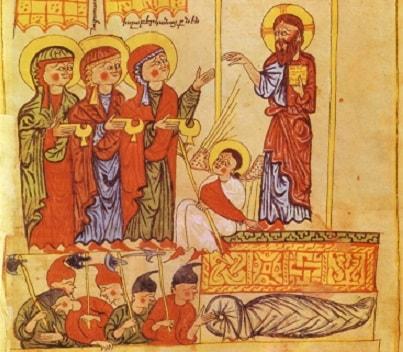mirofore-al-sepolcro-arte armena-XII-XIII sec